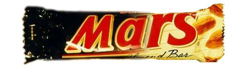 a very scary mars bar that is half american and half british
